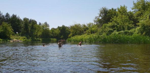 kąpiel w rzece Wkra